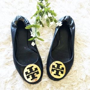 Tory Burch Reva Ballet Flat Leather Navy Blue